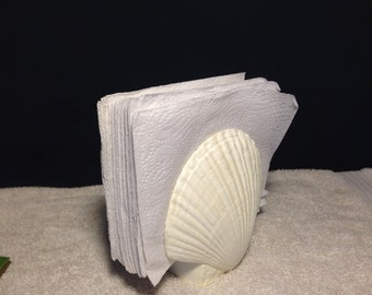 Ceramic Mail / Napkin Holder, Shell, Beach, Kitchen Decor, Dining Room Decor,
