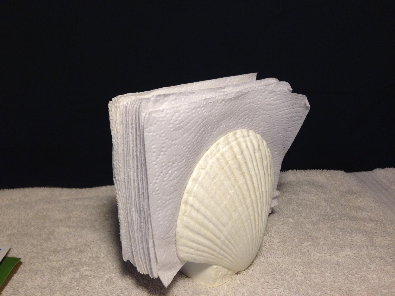 Ceramic mail napkin holder shell beach kitchen decor - Coastal napkin holder ...