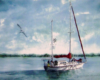 "Watercolor Print ""Joe's Boat"" Picture Sailboat Art Artist B. Feyedelem"