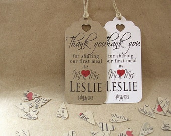 Thank You For Sharing Our First Meal Personalised Wedding Napkin Tie Plate Tags - Contemporary Red Lg with Heart Cut-Out