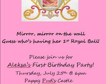 Princess First Birthday Party Invitation