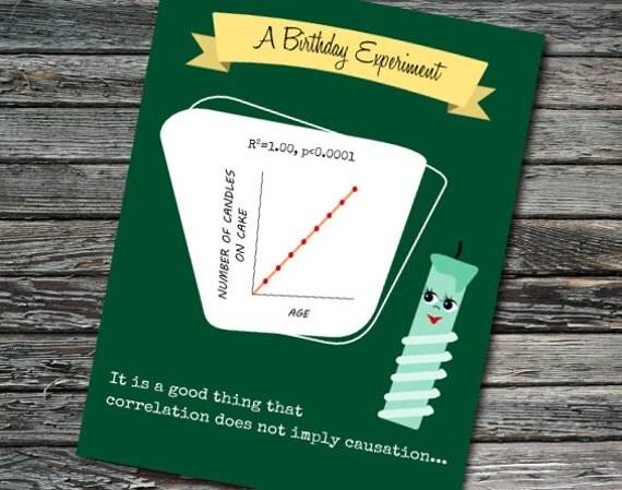 Birthday Correlation Candles Nerdy Science Card Student Teacher