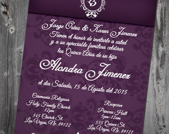 Elegant Quinceañera Invitation Digital Printable