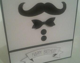 "Male ""happy birthday"" moustache birthday card"