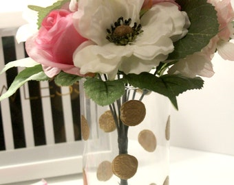 gold polka dot vase, gold vase, gold wedding decor, gold home decor,polka dot decor, gifts for her
