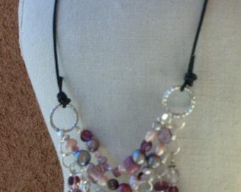 Boho Beaded Amethyst Collar Necklace