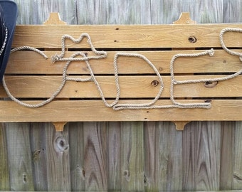 Western Rope Name Sign- Reclaimed Fencing