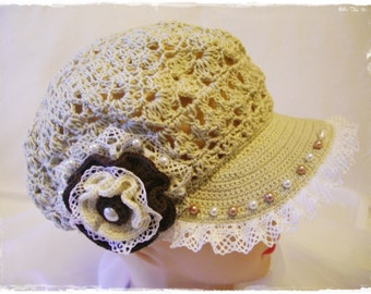 Beige crochet hat with flower and beads