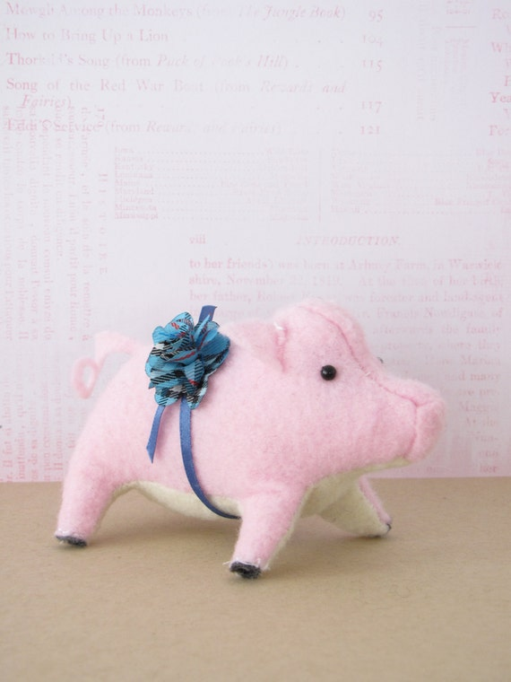 Prize Piglet Hand-sewn Stuffed Animal - Felt softie - pastel pink farm animal barnyard pig blue plaid, birthday gift, kids room decor