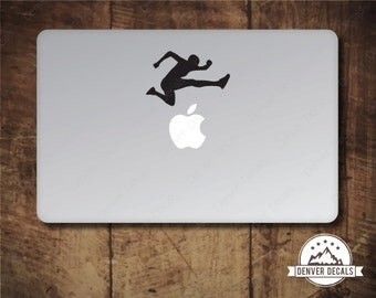 Hurdler Jumping the Apple Macbook Sticker Olympic Track and Field Leaping Mac Decal 13 15