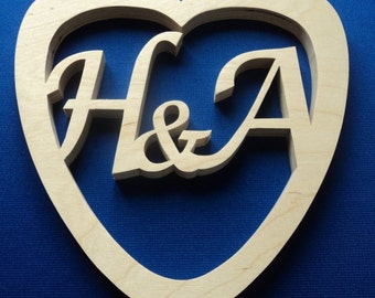 Personalised Wooden Heart with Initials