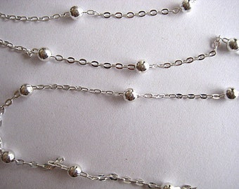 High Quality Silver Plated Brass Chain with 3mm Beads....3 Yards
