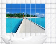Tile decals tile decor for bathroom kitchen slide tiles image island overlooking the sea nature tiles size
