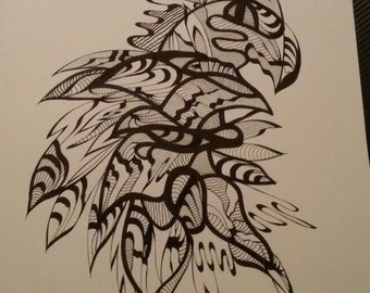 Original Ink Drawings - Parrot