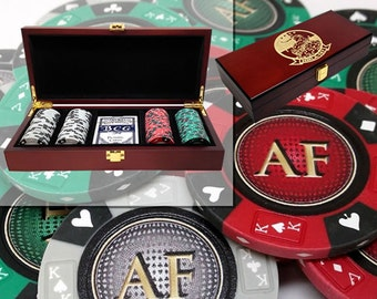 Personalized Groomsmen Heavy Clay Poker Chip Set in Engraved Mahogany Case