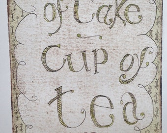 Piece of Cake collagraph print