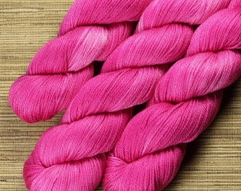 Hand dyed yarn - 100g 100% Pima Cotton - DK/ 8 ply in 'Fuscia Explosion'.