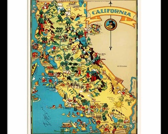 California Map - Map of California - Vintage Map - Print - Poster - Wall Art - Home Decor