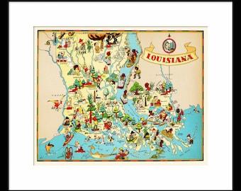 Louisiana Map - Map of Louisiana - Vintage Map - Print - Poster - Wall Art - Home Decor