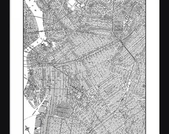 Brooklyn Vintage Map - Brooklyn - White - Print - Poster