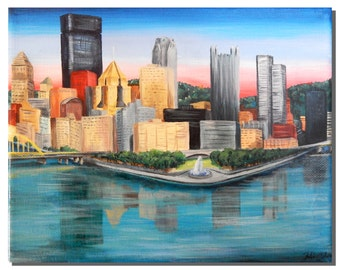 Pittsburgh Point Park and Three Rivers Landscape Acrylic Painting