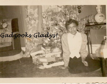 Vintage 1940s Photo Young African American Girl at XMAS - Scanned Sepia Toned Photo