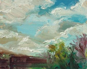 "Original oil painting, plein air, 10x8"" ;Spring Sky"