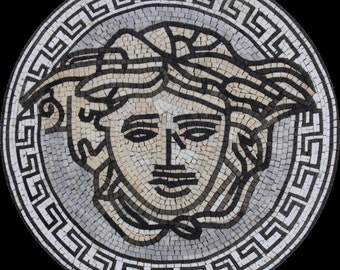 Round Medallion Versace Greek Wall Floor Home Decor Marble Mosaic MD1525