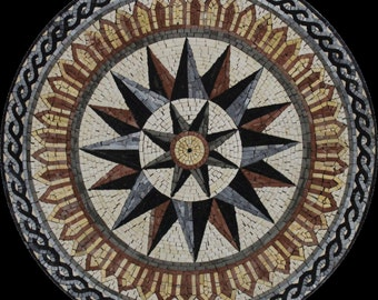 Abstract Star Twister Rope Decor Round Medallion Home Design Marble Mosaic MD1910