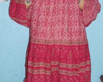 Vintage 70s gauze ethnic Indian Hippie Boho Block print festival dress free size