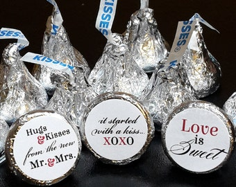 108 Hershey Kiss® Stickers - Wedding Favors, Shower Favors, Hugs® and Kisses® Labels, Love is Sweet, X0X0, Hershey® favors