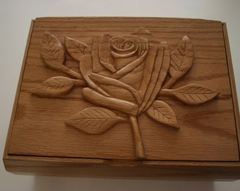 Handcarved Red Oak Jewelry Box