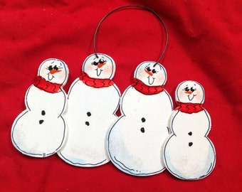 Personalized Snowmen Family of 4 Ornament  Handpainted!