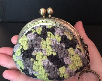 Crochet coin purse, pretty coin purse, cute coin purse with key holder