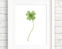 Four Leaf Clover Art Print - Wall Decor - Shamrock Watercolor Painting