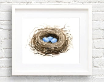 Birds Nest Art Print - Nursery Art - Wall Decor - Watercolor Painting