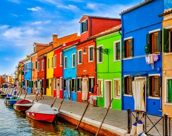 Colorful Living in Burano, Italy, Landscape Photography, Wall Art, Landmark