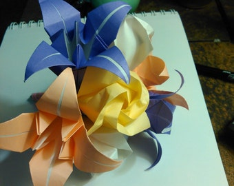 Origami rose and lily bouquet