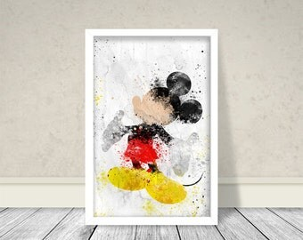 Mickey Mouse Watercolor Inspired Art, Mickey Mouse Art, Disney Art