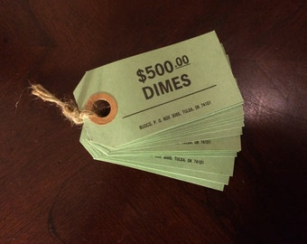 "Vintage Mint Green Paper Tags/Money Tags/Price Tags/Gift Tags/One Blank Side/One Side with Pre-printed ""Dimes 500 Dollars"" Paper Crafting"