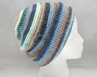 Blue and Brown Crochet Beanie