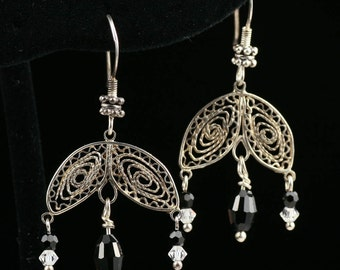 Lacy petals with crystal dangles