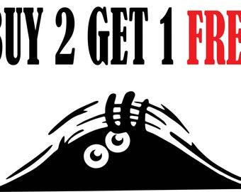 Funny Peeking Monster decal BUY 2 GET 1 FREE wall sticker vinyl graphic
