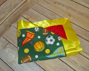 Sports themed Small Baby/Toddler Lovie Blanket - Flannel, Minky, Sating Binding