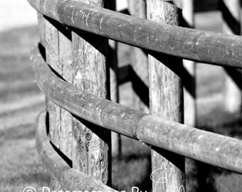 Fine Art Photography - Wall Art - Curved Fence - Montana Nature - Nature Photography - Black & White Photography - 8x10,11x14,16x20