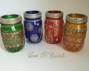 Mason jar lanterns/henna mason jar/wedding centerpiece/ bohemian decor/outdoor lenterns/Unique Home Decor/gift for mom/henna lenterns