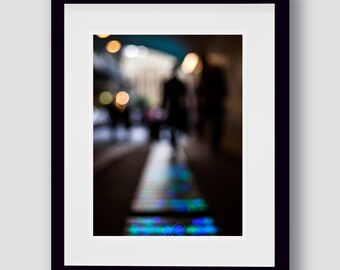 Urban people print, dreamy, blurry effect, blue and black, people walking,  fine art photography, wall art, A3, A4