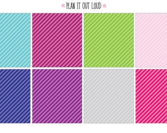 Full box stickers- diagonal stripes (Erin Condren Stickers)