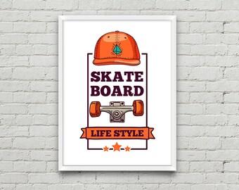 Old school Skateboard Wall Art, Life style print, Skateboard printable, Boy room decor, Motivational Poster, Vertical poster