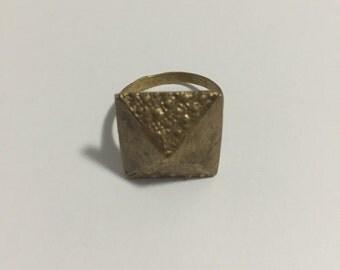 Brooklyn-made metal textured pyramid ring